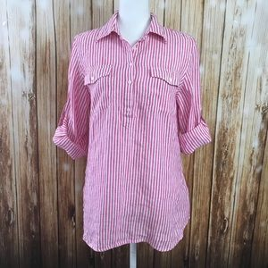 LRL pink white striped popover Linen tunic shirt